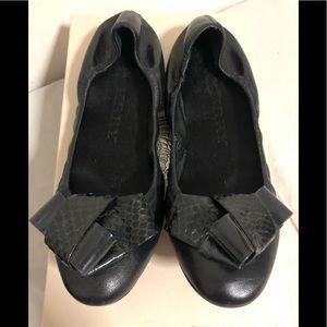Burberry Surrey Leather & Snakeskin Ballet Flats